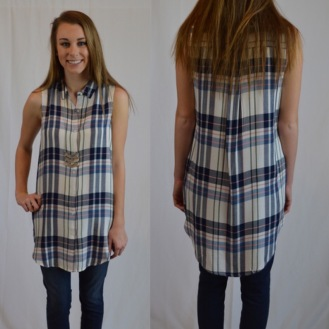 Sleeveless Plaid Tunic $28
